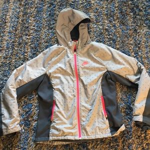 Nike Girl's xl insulated jacket coat pink/gray